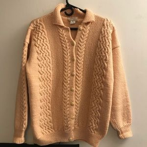 Intarsia Handknit Wool Sweater Sz Medium